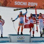 Mens Super-G Podium