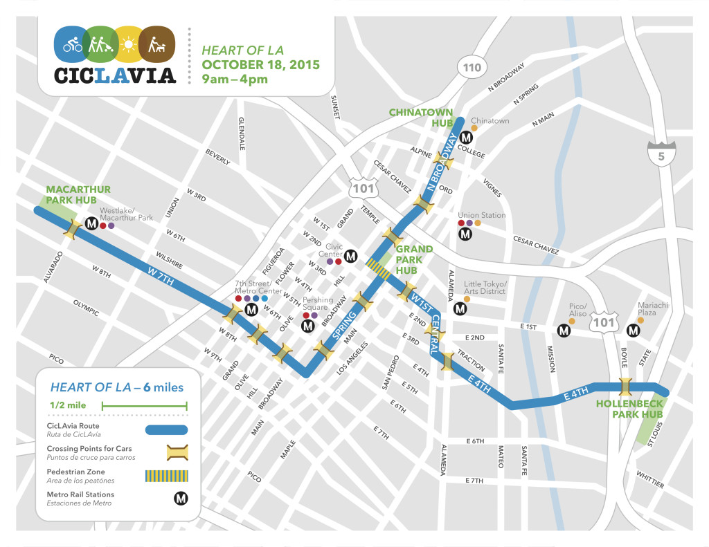 CicLAvia Heart of LA map
